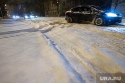 Снег и не расчищенные дороги. Тюмень, колея