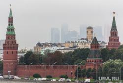 Клипарт. Москва. Сентябрь 2013 год, кремль, туман, москва-сити